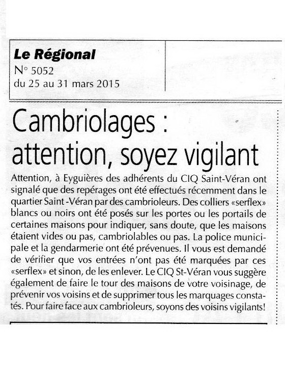 CIQ attention cambriolages