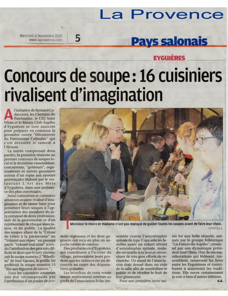 Article Provence du 11 nov 2015 - soiree  Soupes