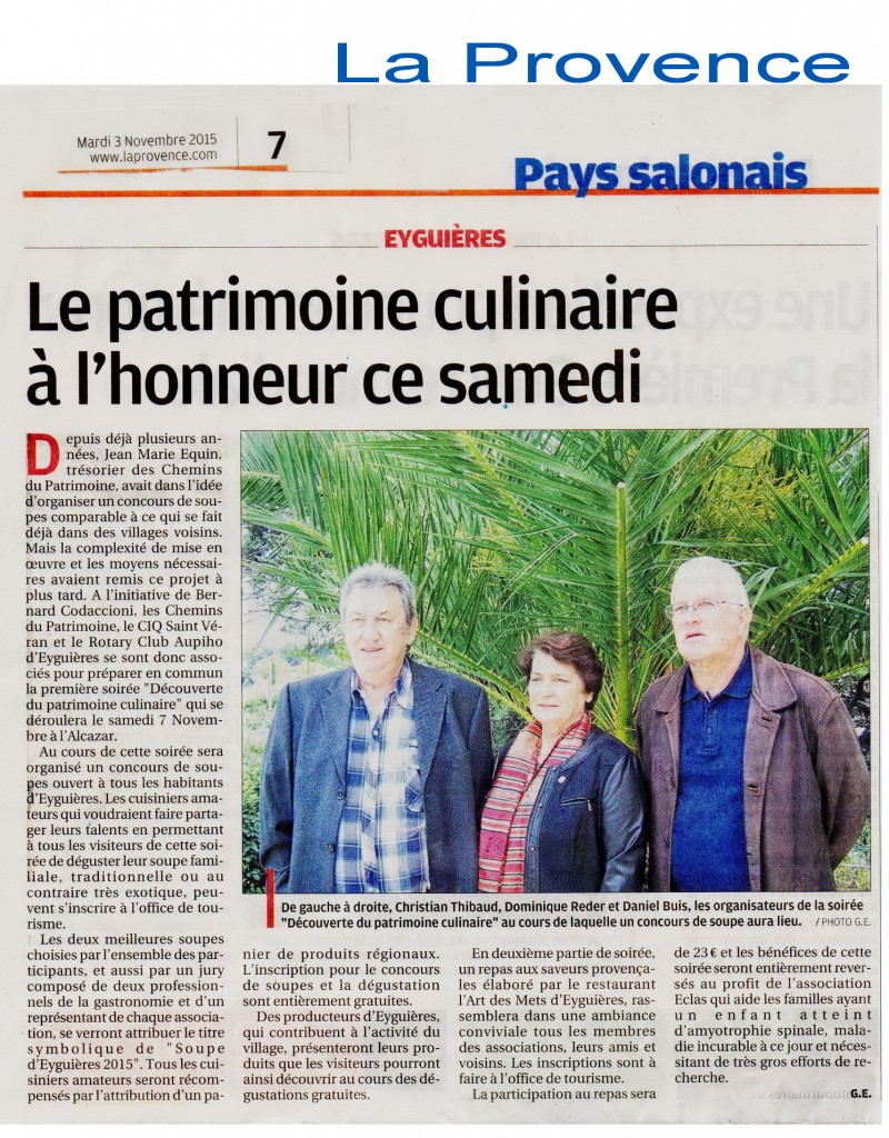 article La Provence du 03_11_2015  soiree  Soupes